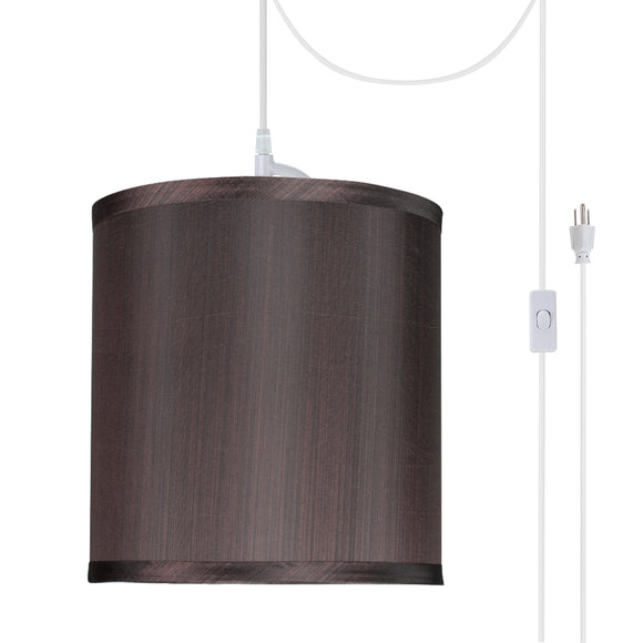 # 71055-21 One-Light Plug-In Swag Pendant Light Conversion Kit with Transitional Drum Fabric Lamp Shade, Striped, 8
