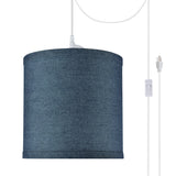 "# 71056-21 One-Light Plug-In Swag Pendant Light Conversion Kit with Transitional Drum Fabric Lamp Shade, Washing Blue, 8"" width"