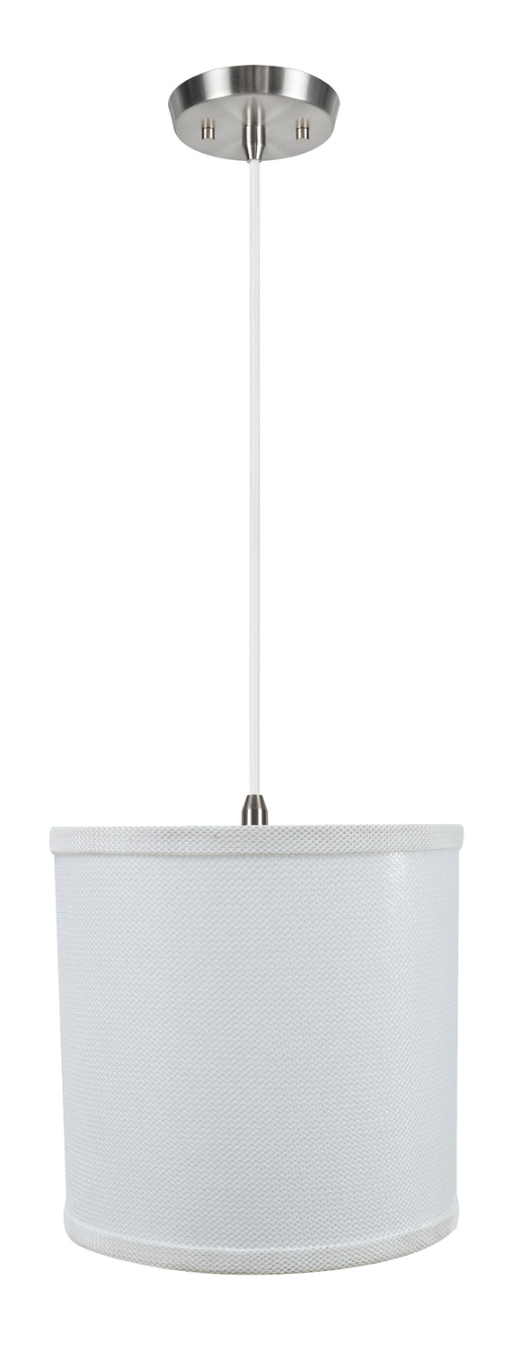 # 71058-11 One-Light Hanging Pendant Ceiling Light with Transitional  Drum Fabric Lamp Shade, White, 8