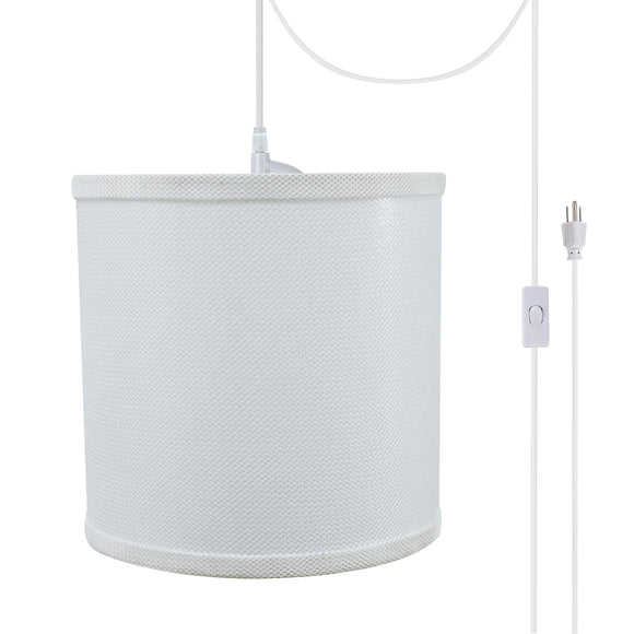 # 71058-21 One-Light Plug-In Swag Pendant Light Conversion Kit with Transitional Drum Fabric Lamp Shade, White, 8
