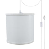 "# 71058-21 One-Light Plug-In Swag Pendant Light Conversion Kit with Transitional Drum Fabric Lamp Shade, White, 8"" width"