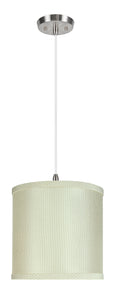"# 71059-11 One-Light Hanging Pendant Ceiling Light with Transitional  Drum Fabric Lamp Shade, Off White, 8"" width"