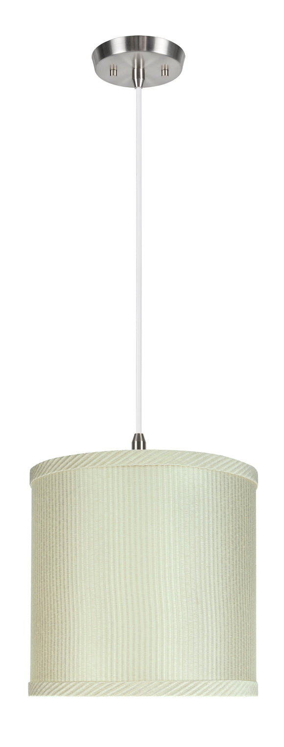 # 71059-11 One-Light Hanging Pendant Ceiling Light with Transitional  Drum Fabric Lamp Shade, Off White, 8