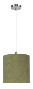 "# 71060-11 One-Light Hanging Pendant Ceiling Light with Transitional Drum Fabric Lamp Shade, Dark Khaki, 8"" width"