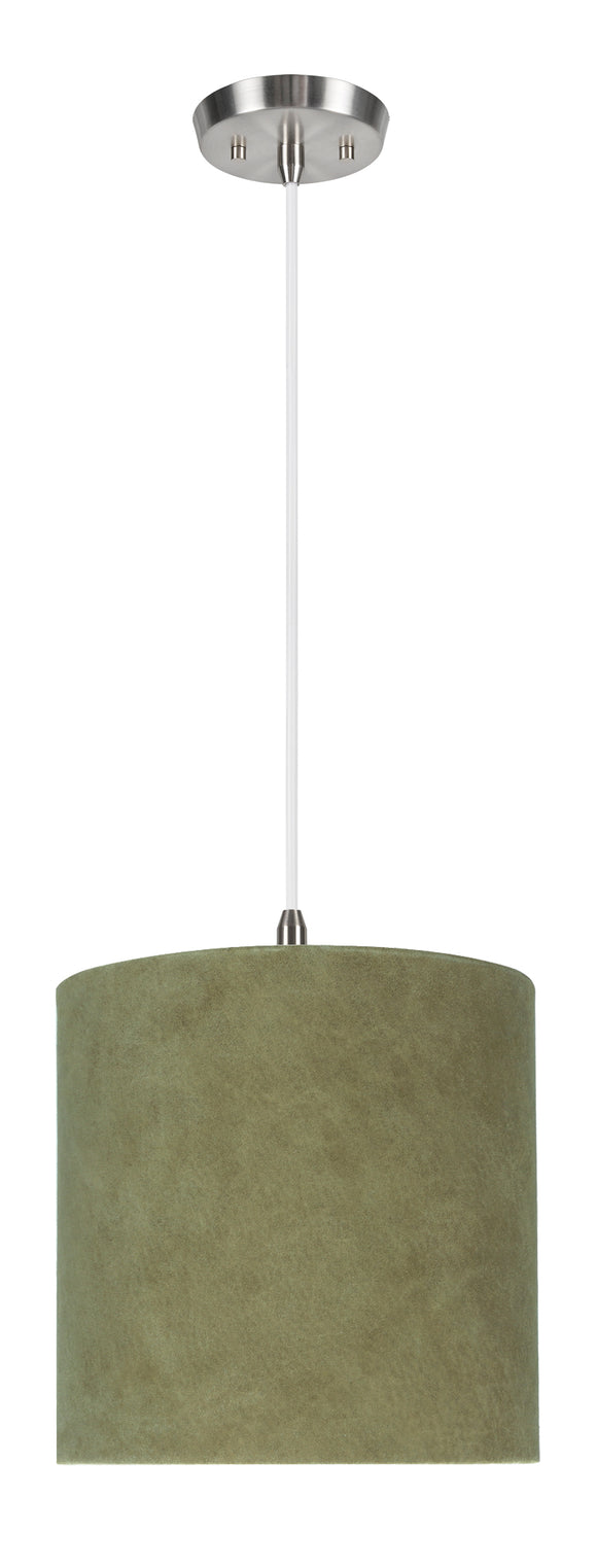 # 71060-11 One-Light Hanging Pendant Ceiling Light with Transitional Drum Fabric Lamp Shade, Dark Khaki, 8