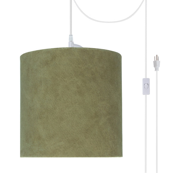 # 71060-21 One-Light Plug-In Swag Pendant Light Conversion Kit with Transitional Drum Fabric Lamp Shade, Dark Khaki, 8