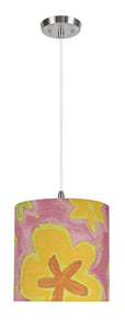 "# 71061-11 One-Light Hanging Pendant Ceiling Light with Transitional Drum Fabric Lamp Shade, Pink, 8"" width"