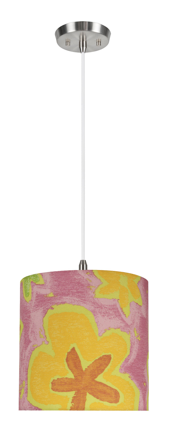 # 71061-11 One-Light Hanging Pendant Ceiling Light with Transitional Drum Fabric Lamp Shade, Pink, 8