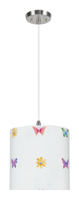 "# 71062-11 One-Light Hanging Pendant Ceiling Light with Transitional Drum Fabric Lamp Shade, White, 8"" width"