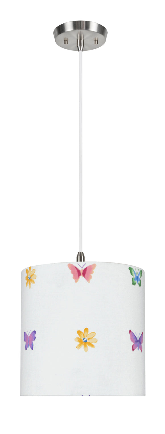# 71062-11 One-Light Hanging Pendant Ceiling Light with Transitional Drum Fabric Lamp Shade, White, 8