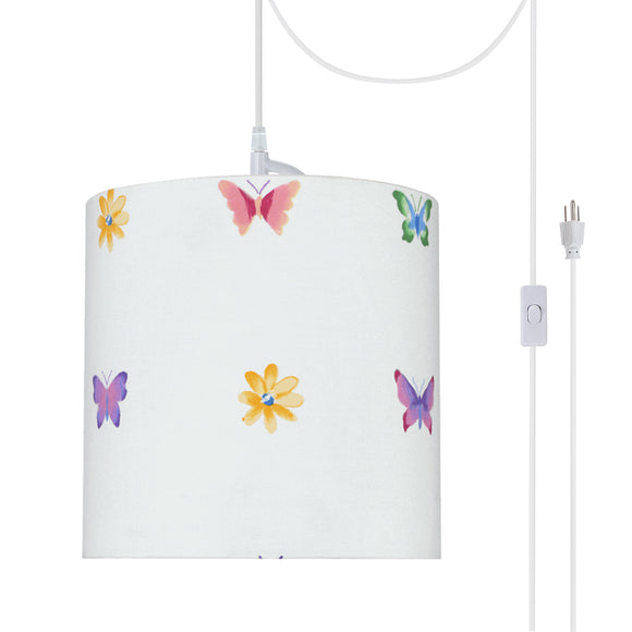 # 71062-21 One-Light Plug-In Swag Pendant Light Conversion Kit with Transitional Drum Fabric Lamp Shade, White, 8
