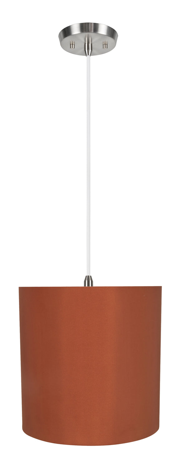 # 71063-11 One-Light Hanging Pendant Ceiling Light with Transitional Drum Fabric Lamp Shade, Redwood, 8