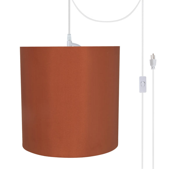 # 71063-21 One-Light Plug-In Swag Pendant Light Conversion Kit with Transitional Drum Fabric Lamp Shade, Redwood, 8