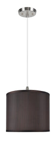 "# 71086-11 One-Light Hanging Pendant Ceiling Light with Transitional Hardback Drum Fabric Lamp Shade, Brown, 12"" width"