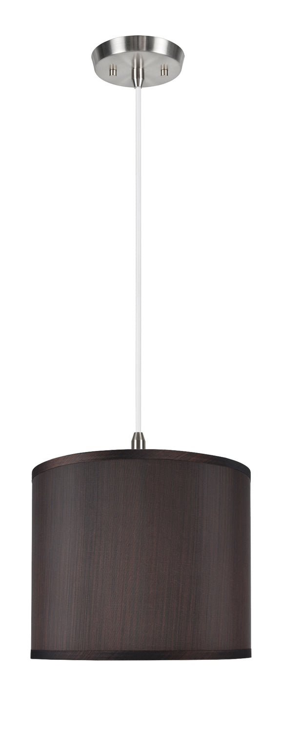 # 71086-11 One-Light Hanging Pendant Ceiling Light with Transitional Hardback Drum Fabric Lamp Shade, Brown, 12