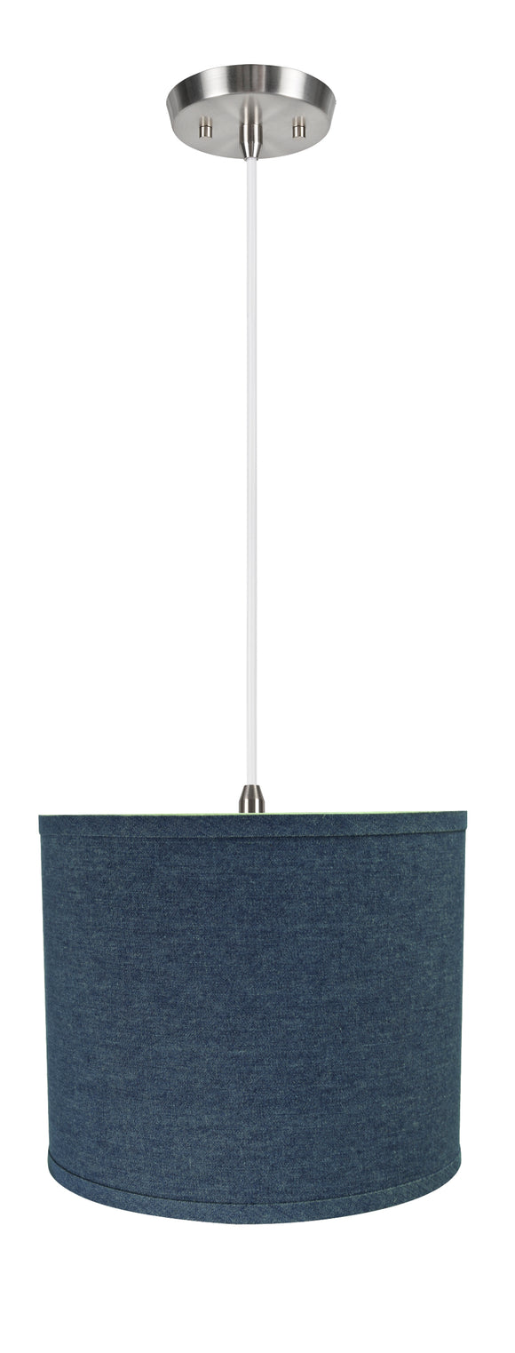 # 71087-11 One-Light Hanging Pendant Ceiling Light with Transitional Hardback Drum Fabric Lamp Shade, Washing Blue, 12