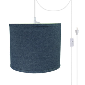 "# 71087-21 One-Light Plug-In Swag Pendant Light Conversion Kit with Transitional Hardback Drum Fabric Lamp Shade, Washing Blue, 12"" width"