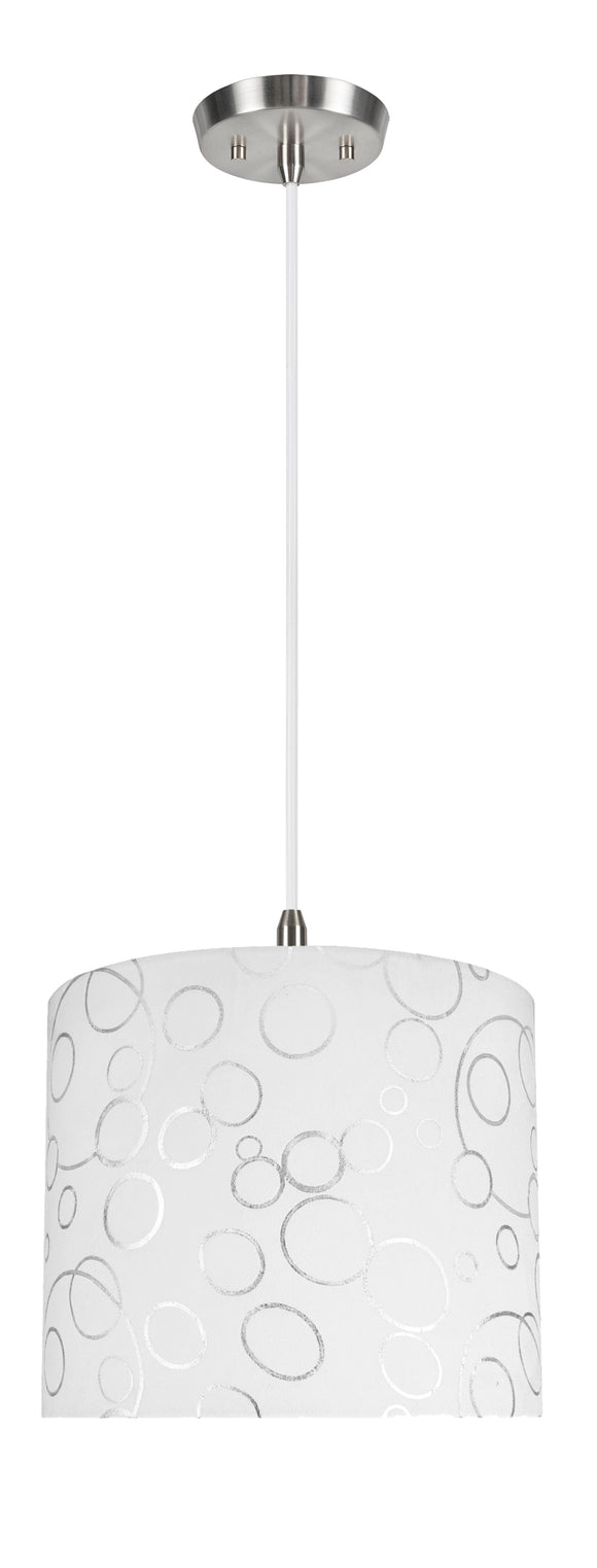 # 71088-11 One-Light Hanging Pendant Ceiling Light with Transitional Drum Fabric Lamp Shade, White, 12
