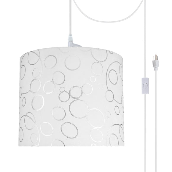 # 71088-21 One-Light Plug-In Swag Pendant Light Conversion Kit with Transitional Drum Fabric Lamp Shade, White, 12
