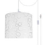"# 71088-21 One-Light Plug-In Swag Pendant Light Conversion Kit with Transitional Drum Fabric Lamp Shade, White, 12"" width"