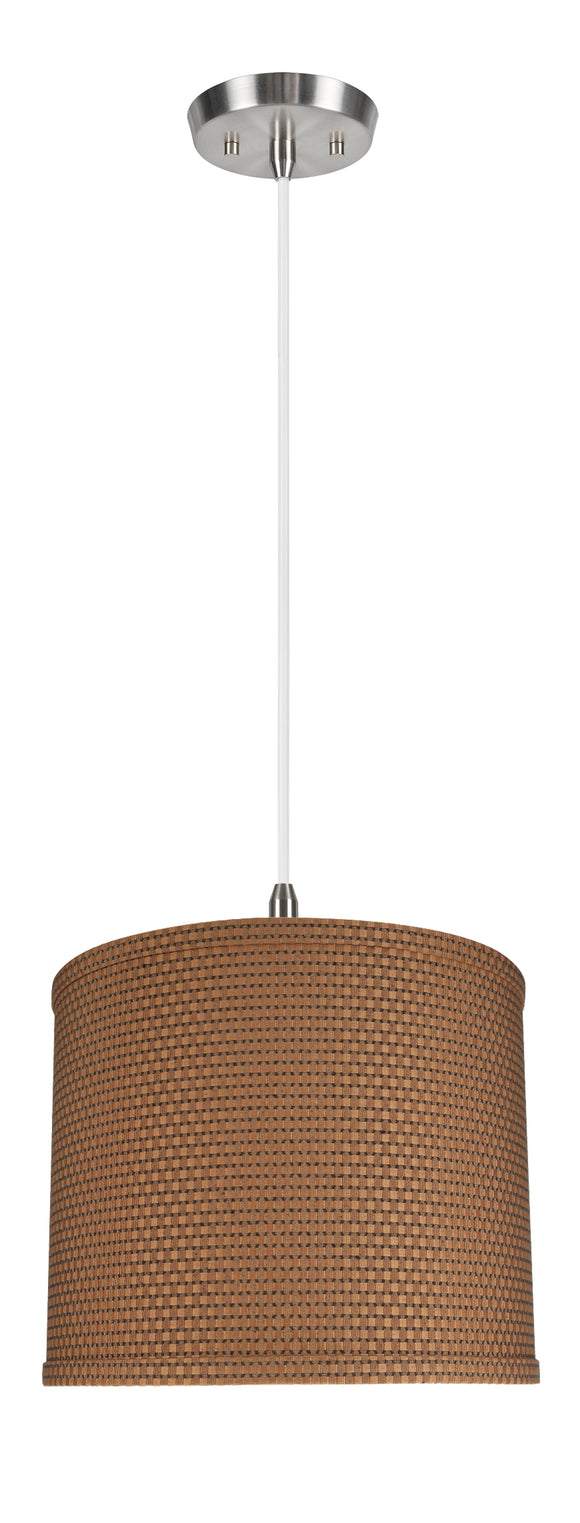 # 71089-11 One-Light Hanging Pendant Ceiling Light with Transitional Drum Fabric Lamp Shade, Brown, 12