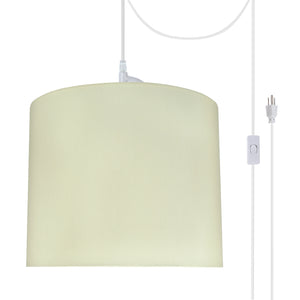 "# 71090-21 One-Light Plug-In Swag Pendant Light Conversion Kit with Transitional Drum Fabric Lamp Shade, Beige, 12"" width"