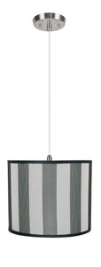 "# 71091-11 One-Light Hanging Pendant Ceiling Light with Transitional Drum Fabric Lamp Shade, Hunter Green & White, 12"" width"