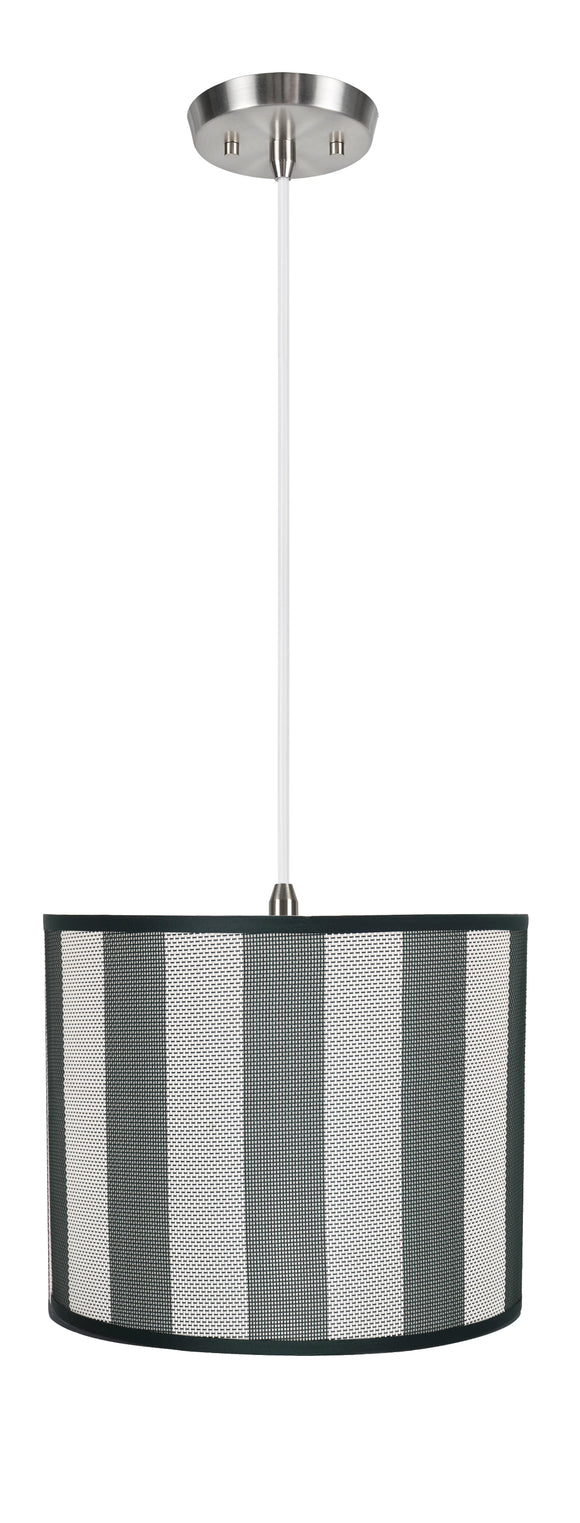 # 71091-11 One-Light Hanging Pendant Ceiling Light with Transitional Drum Fabric Lamp Shade, Hunter Green & White, 12