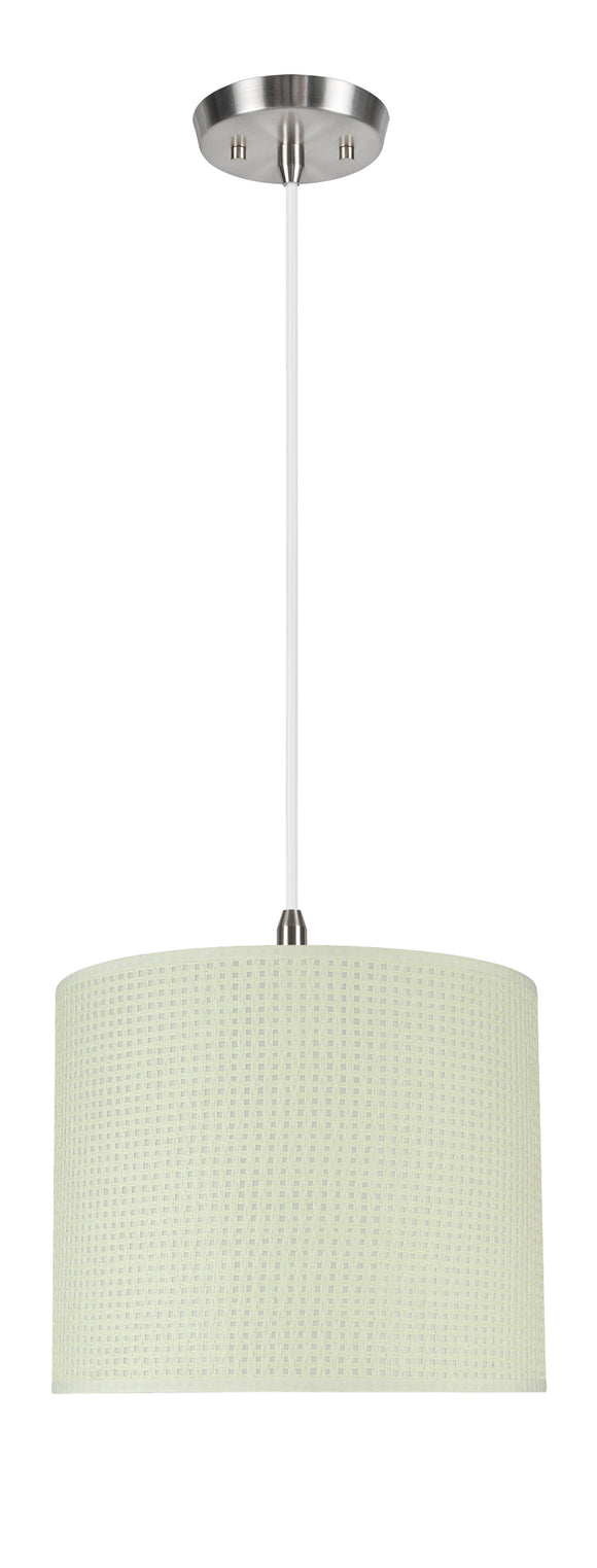 # 71092-11 One-Light Hanging Pendant Ceiling Light with Transitional Drum Fabric Lamp Shade, Beige, 12