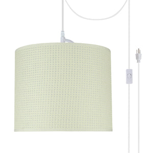 "# 71092-21 One-Light Plug-In Swag Pendant Light Conversion Kit with Transitional Drum Fabric Lamp Shade, Beige, 12"" width"