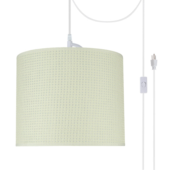# 71092-21 One-Light Plug-In Swag Pendant Light Conversion Kit with Transitional Drum Fabric Lamp Shade, Beige, 12