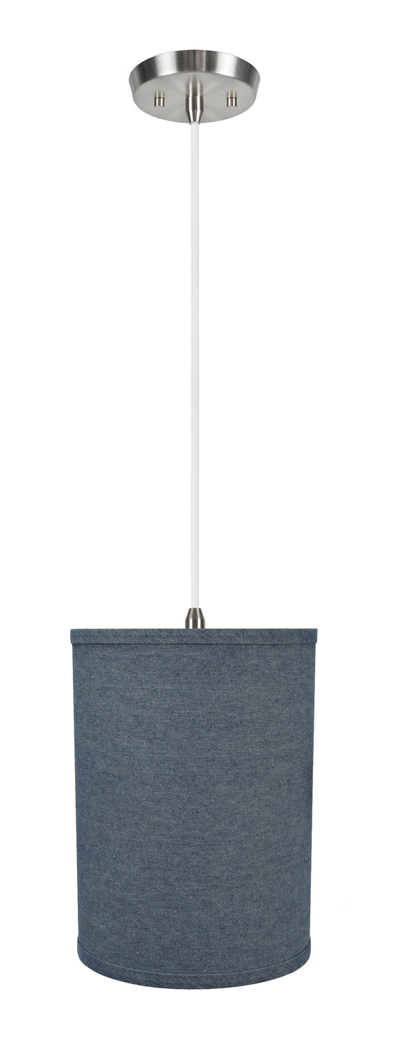 # 71112-11 One-Light Hanging Pendant Ceiling Light with Transitional Drum Fabric Lamp Shade, Washing Blue, 8