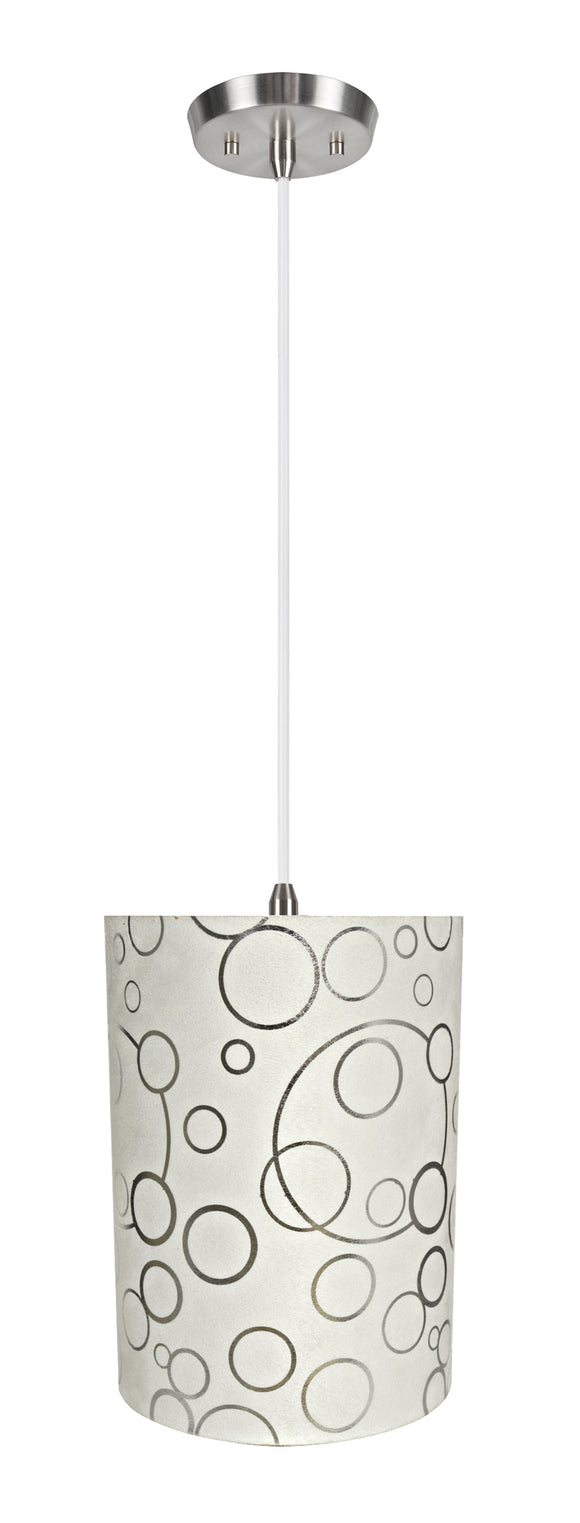 # 71114-11 One-Light Hanging Pendant Ceiling Light with Transitional Drum Fabric Lamp Shade, White, 8