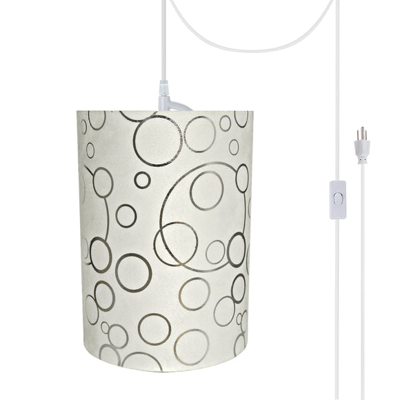 # 71114-21 One-Light Plug-In Swag Pendant Light Conversion Kit with Transitional Drum Fabric Lamp Shade, White, 8