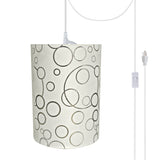 "# 71114-21 One-Light Plug-In Swag Pendant Light Conversion Kit with Transitional Drum Fabric Lamp Shade, White, 8"" width"