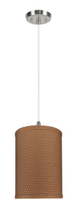 "# 71115-11 One-Light Hanging Pendant Ceiling Light with Transitional Drum Fabric Lamp Shade, Brown, 8"" width"