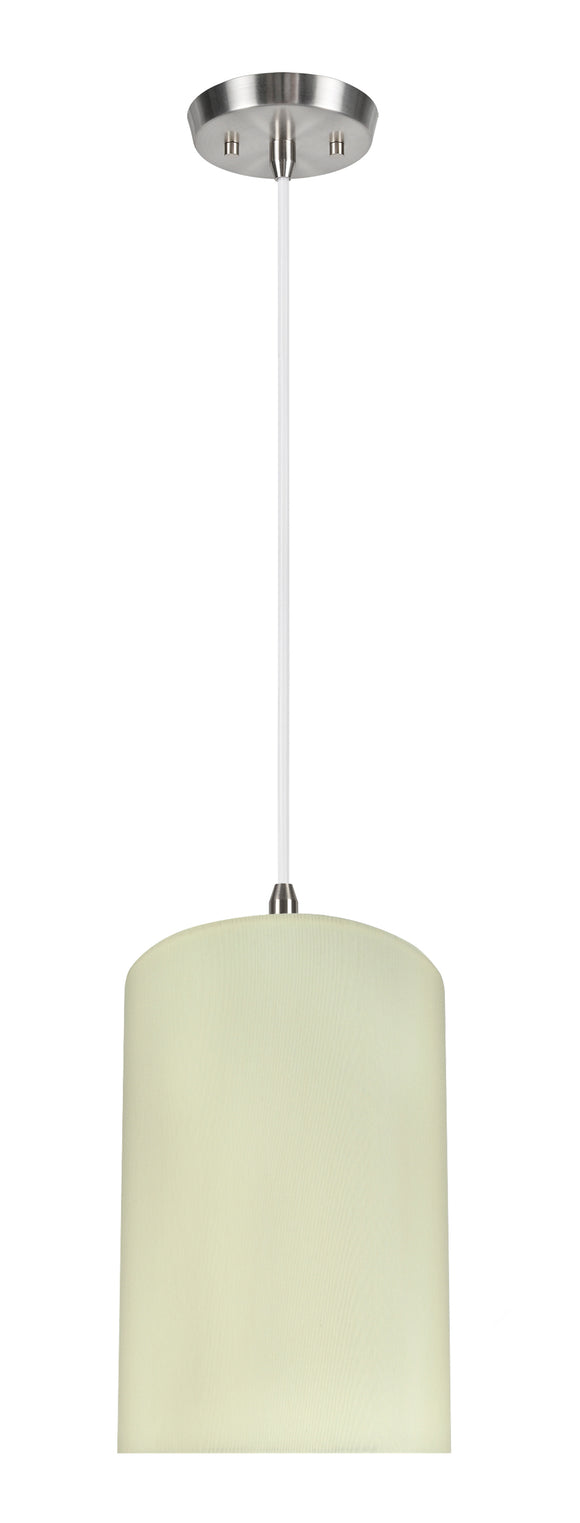 # 71116-11 One-Light Hanging Pendant Ceiling Light with Transitional Drum Fabric Lamp Shade, Beige, 8