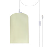 "# 71116-21 One-Light Plug-In Swag Pendant Light Conversion Kit with Transitional Drum Fabric Lamp Shade, Beige, 8"" width"