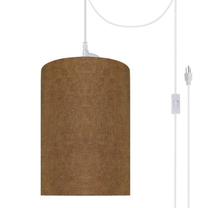 "# 71117-21 One-Light Plug-In Swag Pendant Light Conversion Kit with Transitional Drum Fabric Lamp Shade, Rusty Red, 8"" width"