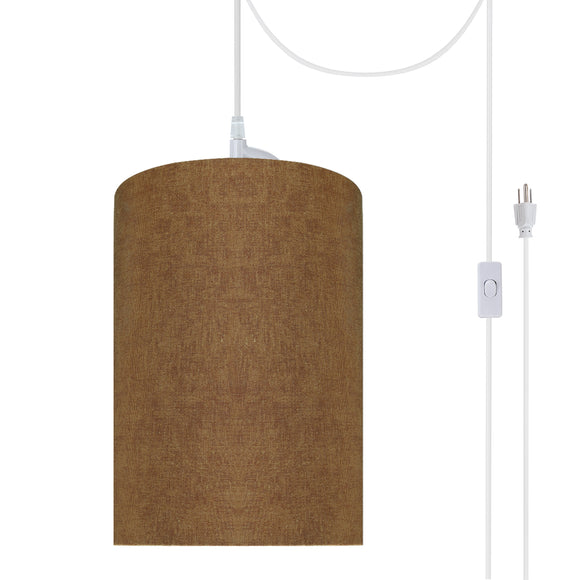 # 71117-21 One-Light Plug-In Swag Pendant Light Conversion Kit with Transitional Drum Fabric Lamp Shade, Rusty Red, 8