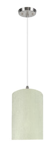"# 71118-11 One-Light Hanging Pendant Ceiling Light with Transitional Drum Fabric Lamp Shade, Off White, 8"" width"