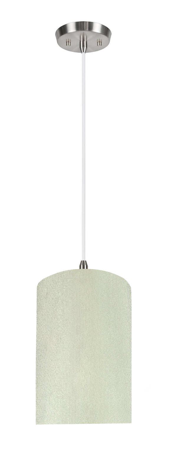 # 71118-11 One-Light Hanging Pendant Ceiling Light with Transitional Drum Fabric Lamp Shade, Off White, 8