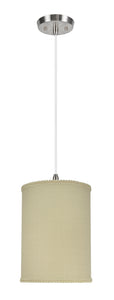 "# 71119-11 One-Light Hanging Pendant Ceiling Light with Transitional Drum Fabric Lamp Shade, Yellowish Brown, 8"" width"