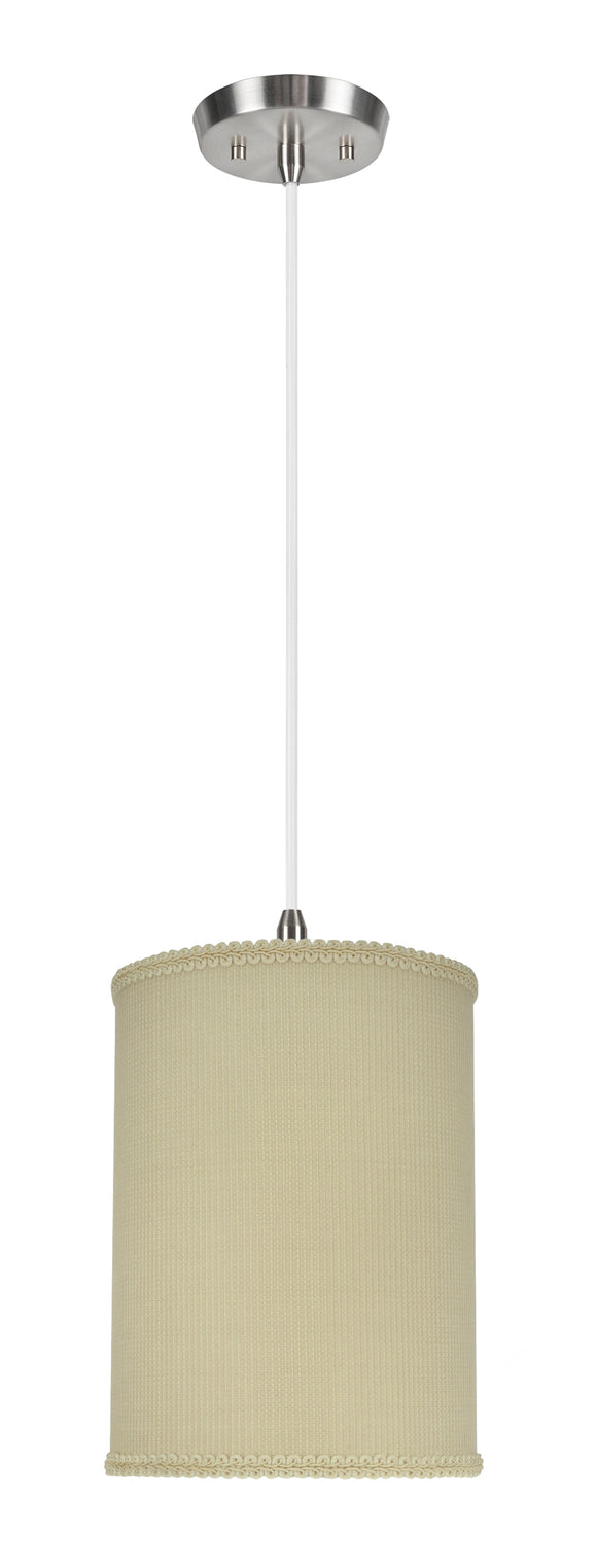 # 71119-11 One-Light Hanging Pendant Ceiling Light with Transitional Drum Fabric Lamp Shade, Yellowish Brown, 8