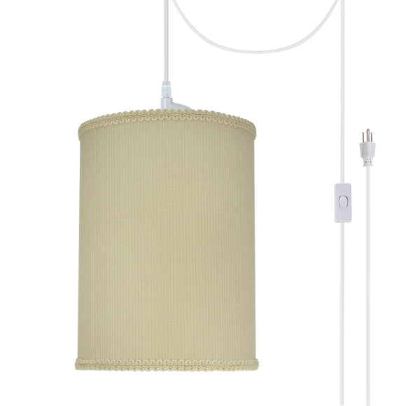 # 71119-21 One-Light Plug-In Swag Pendant Light Conversion Kit with Transitional Drum Fabric Lamp Shade, Yellowish Brown, 8