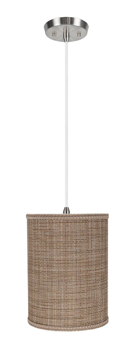# 71121-11 One-Light Hanging Pendant Ceiling Light with Transitional Drum Fabric Lamp Shade, Brown Tweed, 8