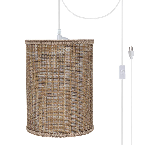 # 71121-21 One-Light Plug-In Swag Pendant Light Conversion Kit with Transitional Drum Fabric Lamp Shade, Brown Tweed, 8