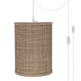 "# 71121-21 One-Light Plug-In Swag Pendant Light Conversion Kit with Transitional Drum Fabric Lamp Shade, Brown Tweed, 8"" width"