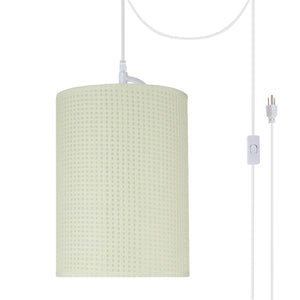 "# 71123-21 One-Light Plug-In Swag Pendant Light Conversion Kit with Transitional Drum Fabric Lamp Shade, Beige, 8"" width"