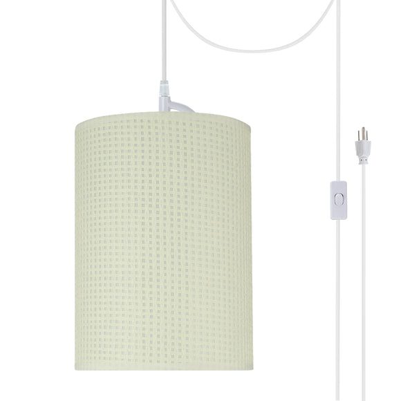 # 71123-21 One-Light Plug-In Swag Pendant Light Conversion Kit with Transitional Drum Fabric Lamp Shade, Beige, 8